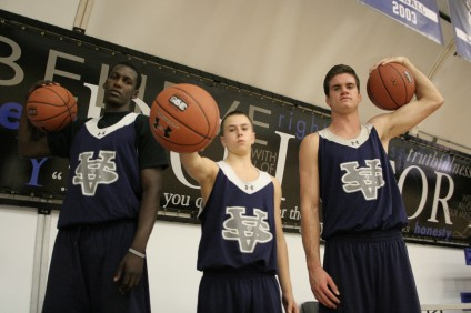 Sophomore Eric Rwahwire, freshman Nolan Willet and senior Nick Worrell and the Saddleback Valley Christian boys basketball team will attempt to repeat as San Joaquin League champions in 2012. Photo by Kevin Dahlgren