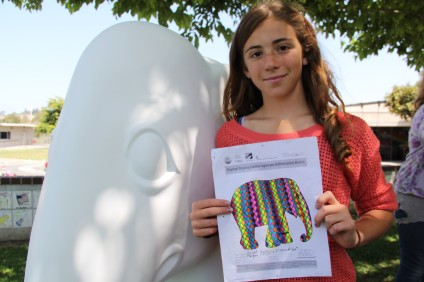 Morgan Finelt, from Ambuehl Elementary School, was selected from more than 2,000 Capistrano Unified School District fourth- and fifth- graders as the winner of the Elephant Parade: Welcome to America design contest. Courtesy photo