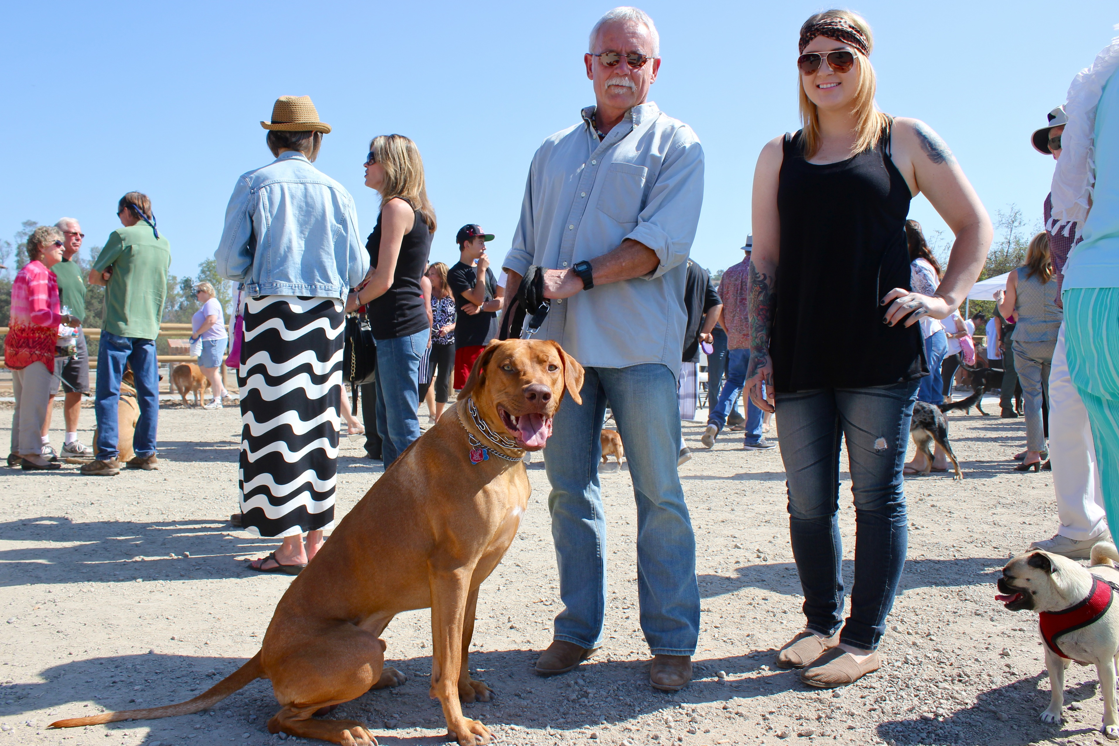 Michael Hoffman and Karen Thomas with their Rhodesian ridgeback, Mr. Brown. Photo by Brian Park