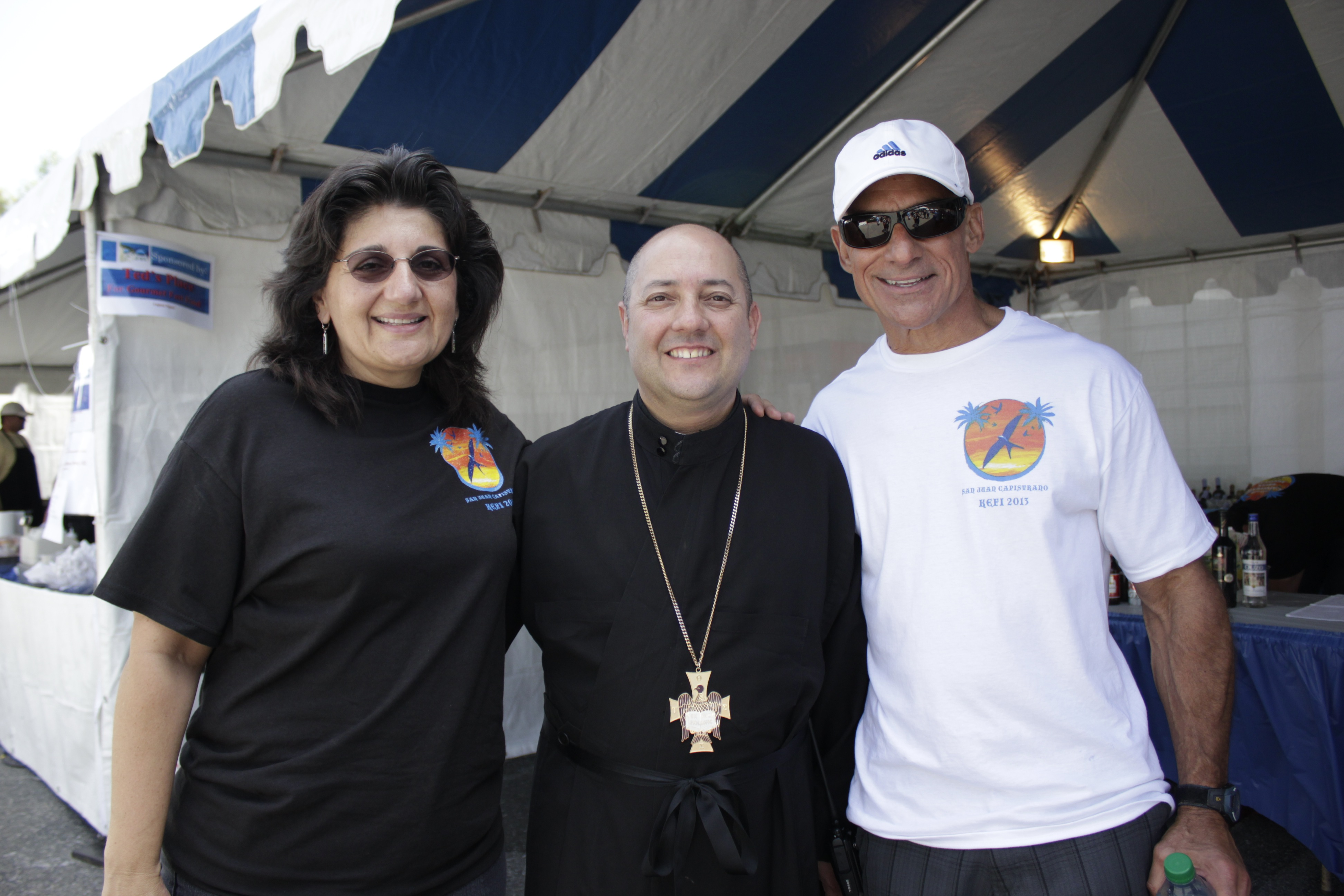 (From L to R) Irene Basadakis, Fr. Bill Tragus and Denny Papilion. Photo by Brian Park