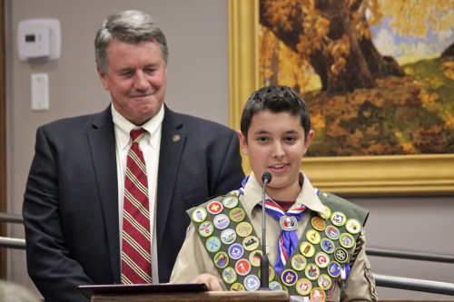 Local Boy Scout Alex Davani was honored by the San Juan Capistrano City Council on Tuesday, November 5 after earning his Eagle Scout rank. Photo by Brian Park