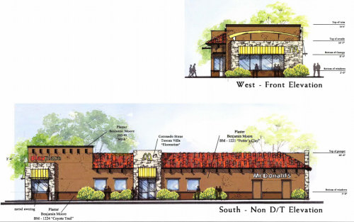An architectural rendering of what the redesigned McDonald's in San Juan Capistrano will look like. Courtesy of the city of San Juan Capistrano