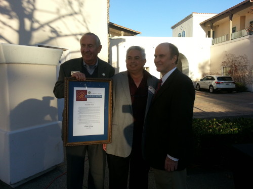 (From L to R) Mayor Pro Tem Larry Kramer, Ricardo Beas and Sen. Mark Wyland, R-Carlsbad. Wyland honored Beas for his volunteering efforts in the city with the San Juan Capistrano Community Spirit Award. Courtesy of the Chamber of Commerce