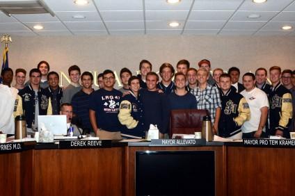 The San Juan Hills High School football team was recognized by the San Juan Capistrano City Council on Tuesday, December 17. Photo by Scott Schmitt