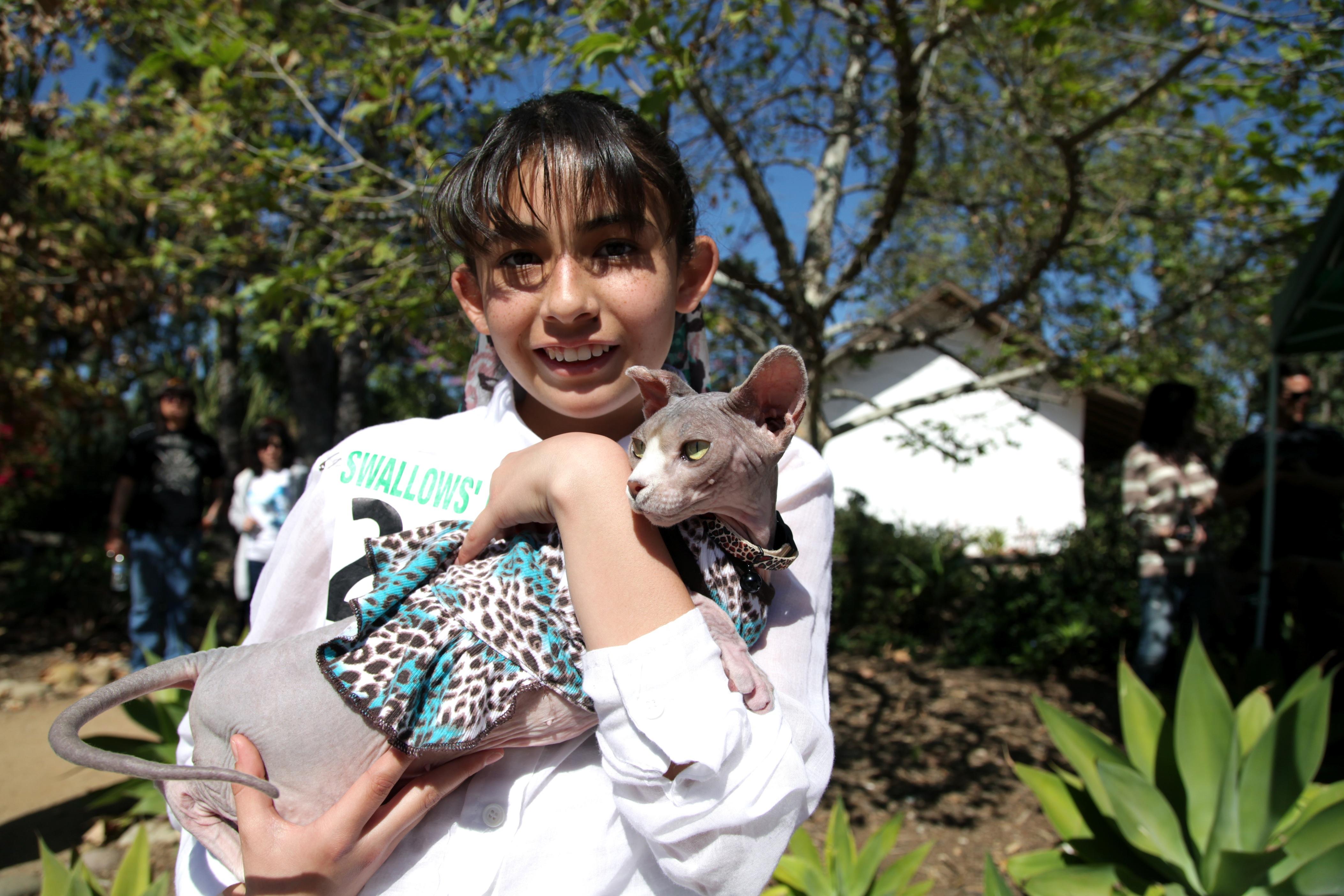 Angelina Rodrigo with her sphynx, Phoebe. Photo by Brian Park