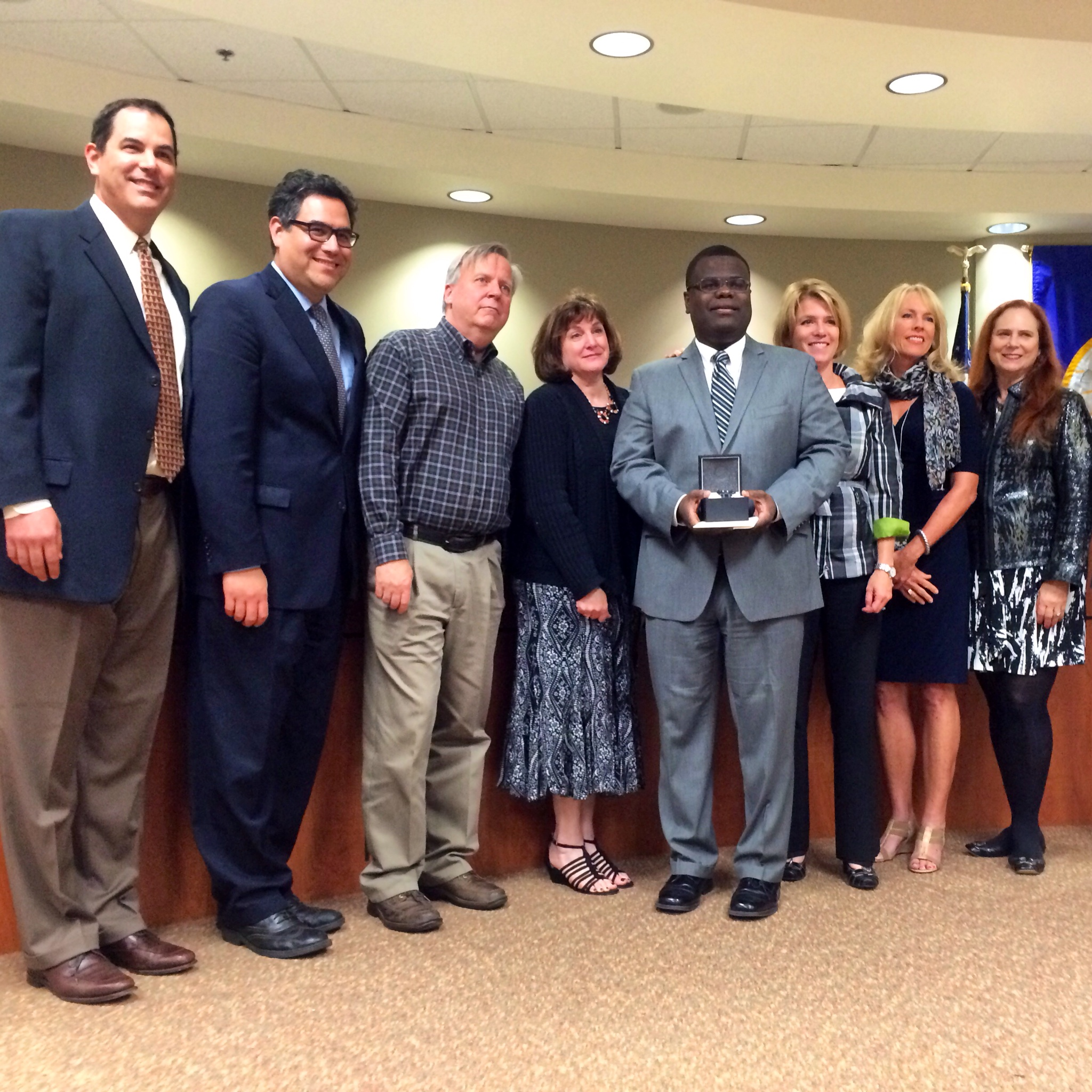 Members of the Capistrano Unified School District Board of Trustees each pitched in to buy outgoing Chief Communications Officer Marcus Walton a watch. Walton has accepted the communications director position at the West Contra Costa Unified School District in Northern California. Photo by Brian Park