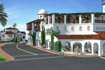 A previous rendering of the proposed San Juan Hotel & Villas. The project, which was approved by the Planning Commission Tuesday, has since been revised to scale back the hotel from the historic Egan House and tone down its color. Courtesy of Urban Village Development Company