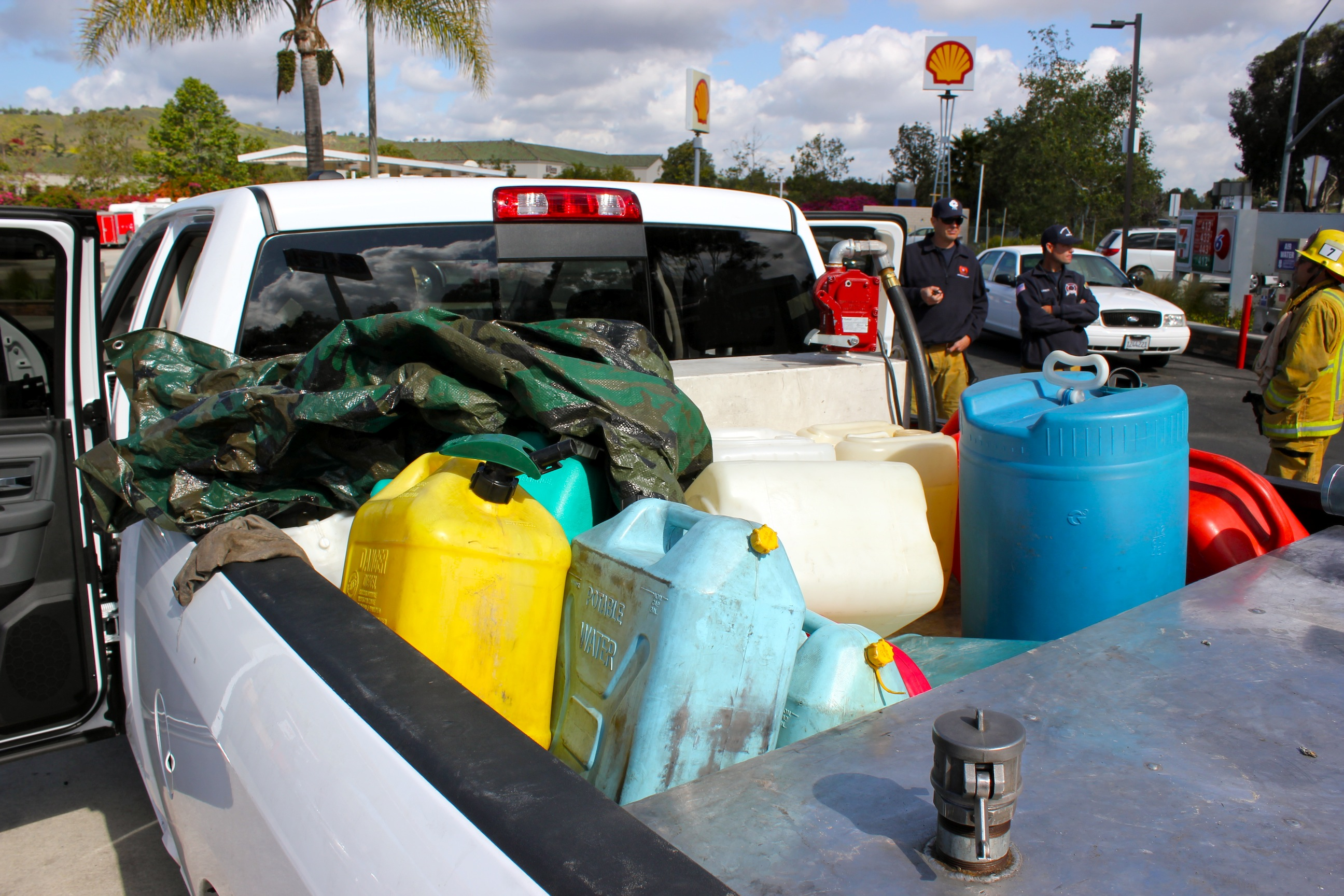 Orange County Sheriff's Deputies and investigators discovered several containers in the bed of a pick-up truck driven by a suspected gas thief. Photo by Brian Park