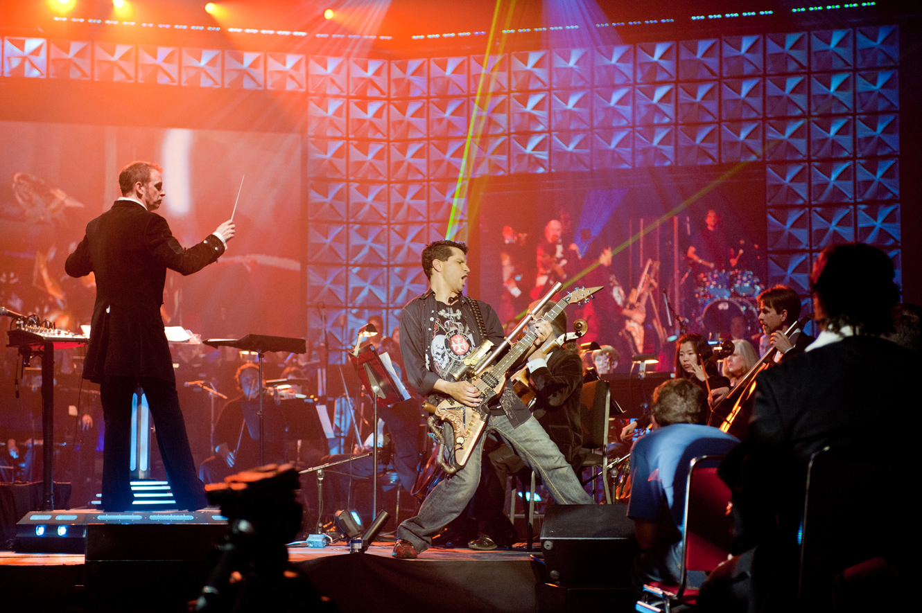 Tommy Tallarico performs on stage as part of his Video Games Live music series. Courtesy photo