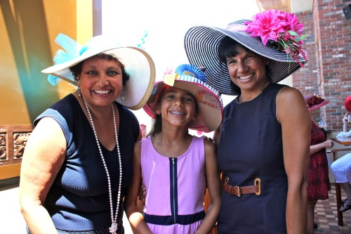 (L to R) Judy Redwood of Dana Point and Alexis and Monica Golin of Calabasas show off their derby hats during the San Juan Capistrano Equestrian Coalition's fourth annual Kentucky Derby Hat Party. Photo: Brian Park
