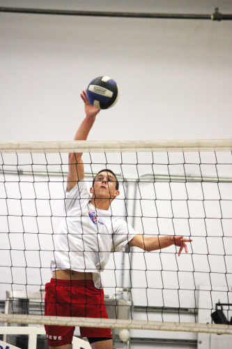 Saddleback Valley Christian's Noah Dyer led the boys volleyball team with 17 kills in a win over Arrowhead Christian in the CIF-SS Division 5 Championship semifinals. Photo: Steve Breazeale