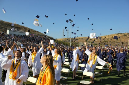 The San Juan Hills High School class of 2014 toss their caps into the air, officially bringing their high school years to a close. Photo by Brian Park