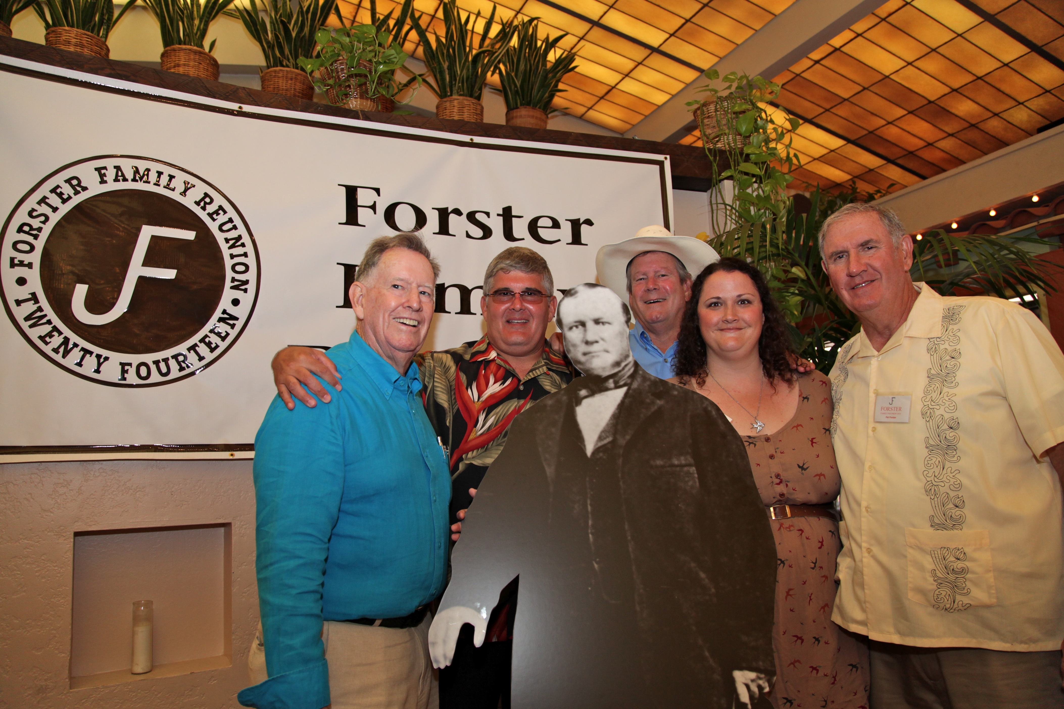 "(From L to R) Juan, Michael, David, Ann and Pat Forster pose for a photo beside a cutout of family patriarch John ""Don Juan"" Forster during a family reunion dinner at El Adobe de Capistrano. Photo: Brian Park"