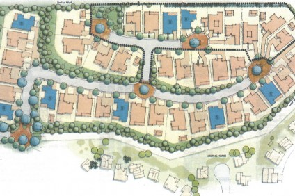 An overhead image of The New Home Company's 40-unit Oliva community. The nine units within the outline are new additions. The other 31 were approved by the City Council in 2005. Courtesy of The New Home Company