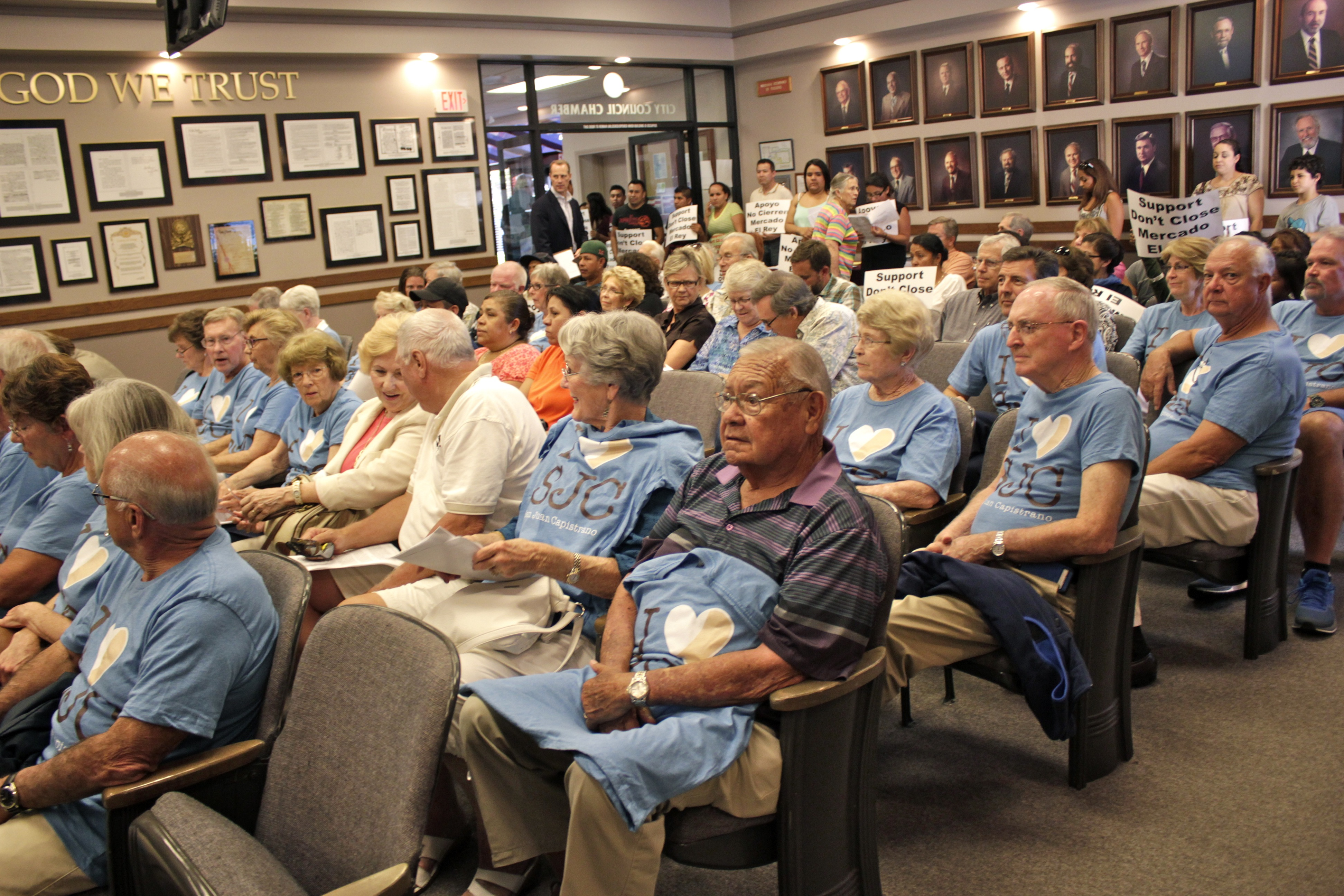 "Supporters of Spieker Senior Development's Laguna Glen retirement community came dressed in blue shirts that read ""I Heart SJC."" Photo: Brian Park"