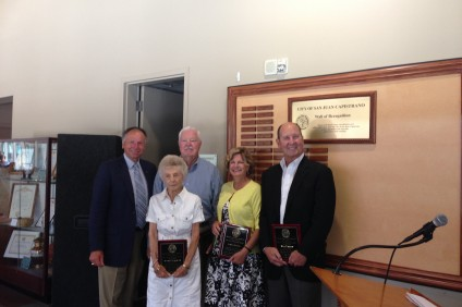 (From L to R) San Juan Capistrano Mayor Sam Allevato with four of the five newest inductees into the city's Wall of Recognition, Gwen Vermeulen, Wayne Howard, Laura Freese and Dick Paulsen. Howard's wife, Shirley, was also added to the display. Courtesy of the city of San Juan Capistrano