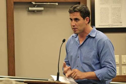 San Juan Capistrano resident Joshua Host, principal of Urban Village, addresses the City Council on Tuesday. An attempt to allow residences in downtown San Juan Capistrano failed to pass on a tie vote, putting Host's project in jeopardy, but he said Thursday he remains committed to the project. Photo: Brian Park