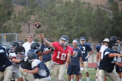 San Juan Hills High School senior quarterback Patrick O'Brien throws a pass during training camp. Photo: Steve Breazeale