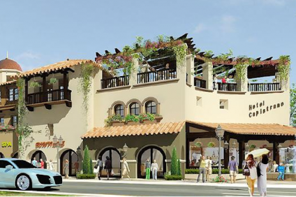 This rendering, courtesy of the project developer Urban Village, shows the latest version of the San Juan Hotel & Villas.