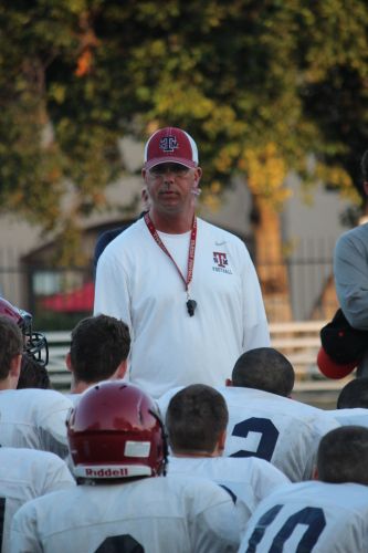 St. Margaret's head football coach Rod Baltau addresses the team during a practice in 2013. Photo: Steve Breazeale