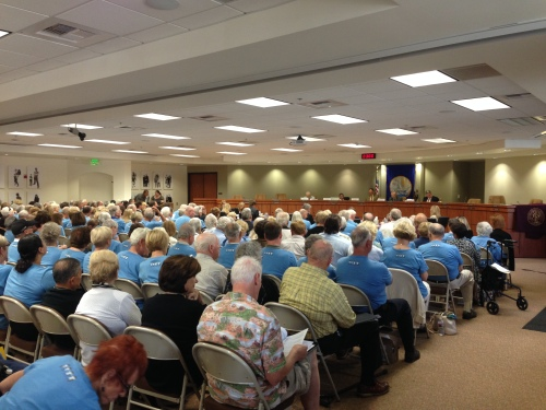 Hundreds attended the Oct. 21 San Juan Capistrano city council meeting to support or show opposition to a proposed senior living community. Photo: Steve Breazeale