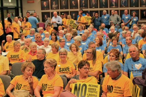 A capacity crowd filled City Hall for the Planning Commission meeting on Tuesday, Sept. 30 to discuss the proposed Laguna Glen retirement community. Photo: Brian Park