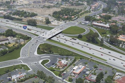 An aerial rendering of Caltrans' completed Interstate 5/Ortega Highway interchange project. Ortega Highway will undergo a three-week closure starting Monday, Nov. 3 as crews reconfigure the road between Del Obispo Street and I-5. Photo: Courtesy of Caltrans