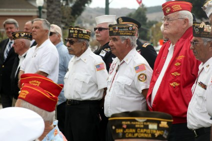 Veterans listen to speeches made during the 2014 Veterans Day ceremony.