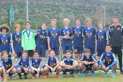 The California Football Academy's boys U14 team won the Awareness Cup in San Juan Capistrano on Jan. 11. Photo: Courtesy