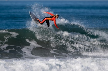 Cameron Duby of San Juan Capistrano took fifth-place in Girls U18 longboard at the Western Surfing Association's sixth event of the season, Jan. 17 in Oceanside. Photo: Jack McDaniel