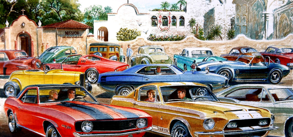 San Juan resident and artist Jack Schmitt created this watercolor painting for the Jan. 31 car show. Photo: Courtesy John Caldwell