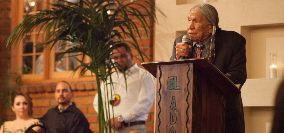 Four Directions recognized respected Elder Saginaw Grant with the Native American Humanitarian of the Year Award for his commitment to promoting excellence throughout the Indian Country Community. Photo: Allison Jarrell