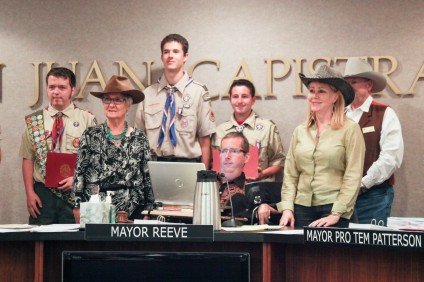 Local Eagle Scouts Donovan Shreve, Paul Stache, Troy Kihm, Brandon Ketel and Mitch Spraker were honored at the San Juan Capistrano City Council's March 17 meeting. Paul Stache is not pictured. Photo: Allison Jarrell