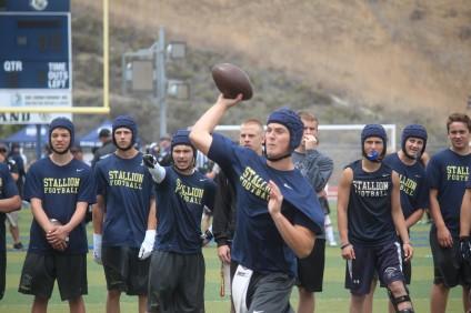 San Juan Hills High School quarterback Patrick O'Brien delivers a ball against JSerra in a passing league tournament game. Photo: Steve Breazeale