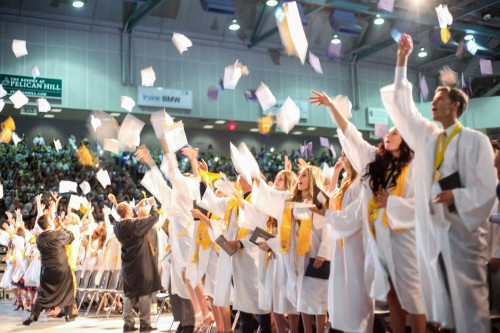 San Juan Hills seniors toss their motarboards in celebration of their June 19 graduation, marking the end of their time in high school and the beginning of a new chapter. Photo: Allison Jarrell