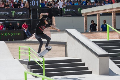 Nyjah Huston competing in the X Games Austin 2015 street skateboarding final. Photo: Bryce Kanights/ESPN Images