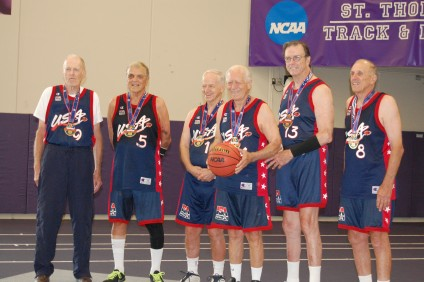 The San Juan Capistrano-based USA 80 senior basketball team won the gold medal in their age group at the 2015 National Senior Games on July 15. Photo: Courtesy