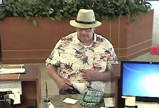 The Ladera Ranch U.S. Bank's security footage shows the alleged bank robber known as the Snowbird Bandit. Photo: Courtesy Orange County Sheriff's Department