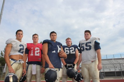L to R: Tim Newman, Patrick O'Brien, Jared Aviles, Nathan Carlson and Zac Oblea will lead the San Juan Hills football team in 2015. Photo: Steve Breazeale
