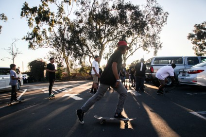 Skaters took to the City Hall parking lot following the City Council approval of a skatepark site in August. Photo: Allison Jarrell