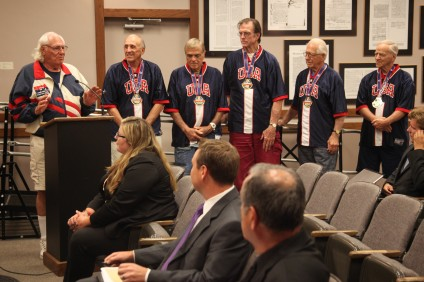 The Team USA 80 senior basketball team was honored during a San Juan Capistrano City Council meeting on Sept. 1. Photo: Allison Jarrell