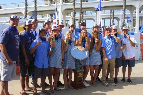 Team USA earned the first ever team gold medal for the United States at the ISA World Junior Surfing Championship, Oct. 12-18 at the Oceanside Pier. Photo: Andrea Swayne