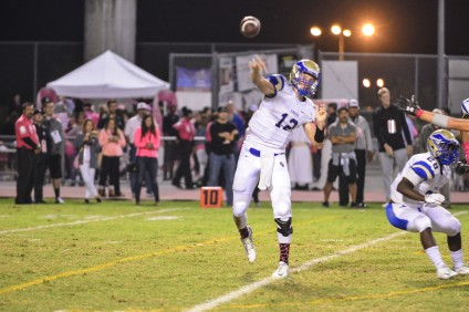 Santa Margarita back-up quarterback Richard Wagner threw three touchdown passes in a 28-21 win over JSerra on Oct. 16. Photo: Connor Schmitt