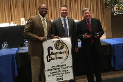 San Juan Hills High School head football coach Aaron Flowers, middle, was honored at the CIF-SS 12th annual Jim Staunton Champions for Character awards dinner on Oct. 2. Photo: Courtesy San Juan Hills athletics.