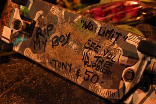 A skateboard was left Saturday at Andy Medina's memorial on Del Obispo Street. Photo: Allison Jarrell