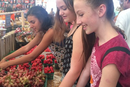 Girl Scouts from Senior Troop 528 attend a local farmers market. Photo: Courtesy of Amy Cox-Petersen