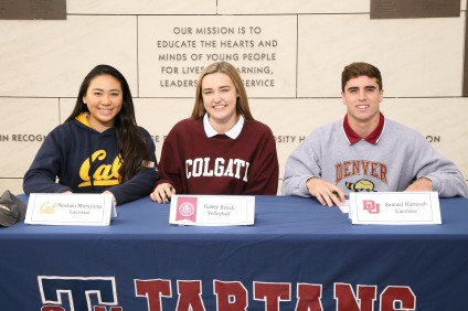 L to R: St. Margaret's athletes Noelani Murayama, Gabrielle Benck and Samuel Harnisch all signed National Letters of Intent on Nov. 11. Photo: Courtesy