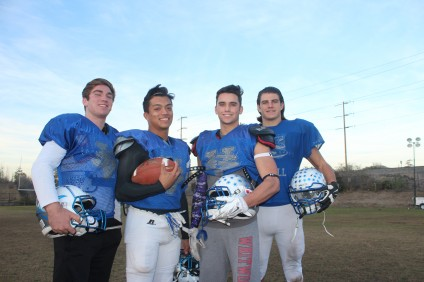 L to R: Cade Henjum, David Molina, Dalton Lohman and Jonathan Bunnel and the Saddleback Valley Christian football team will host Kennedy in the CIF State Regional Division 5A South Championship on Dec. 12. Photo: Steve Breazeale