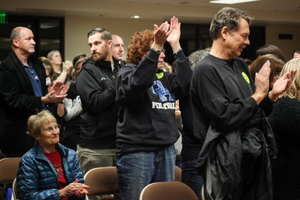 Teachers and supporters clap for Capistrano Unified Education Association representatives who spoke at the Jan. 13 Capistrano Unified School District meeting about ongoing labor negotiations and the need for increased teacher salaries. Photo: Allison Jarrell