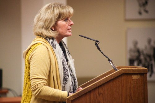 "Capistrano Unified Education Association president Sally White told the CUSD Board of Trustees that teachers are ""tired of begging for a raise."" Photo: Allison Jarrell"